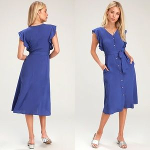 Lulus Capri Coast Royal Blue Midi Dress